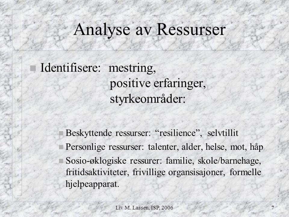 """Liv M. Lassen, ISP, 20067 Analyse av Ressurser n Identifisere: mestring, positive erfaringer, styrkeområder: n Beskyttende ressurser: """"resilience"""", se"""