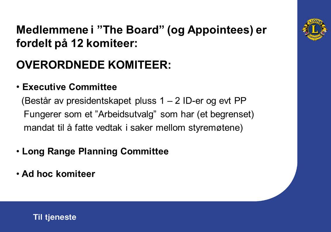 Medlemmene i The Board (og Appointees) er fordelt på 12 komiteer: OVERORDNEDE KOMITEER: Executive Committee (Består av presidentskapet pluss 1 – 2 ID-er og evt PP Fungerer som et Arbeidsutvalg som har (et begrenset) mandat til å fatte vedtak i saker mellom styremøtene) Long Range Planning Committee Ad hoc komiteer