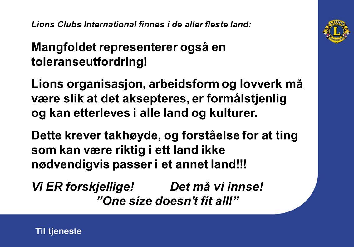 Lions Clubs International finnes i de aller fleste land: Mangfoldet representerer også en toleranseutfordring.