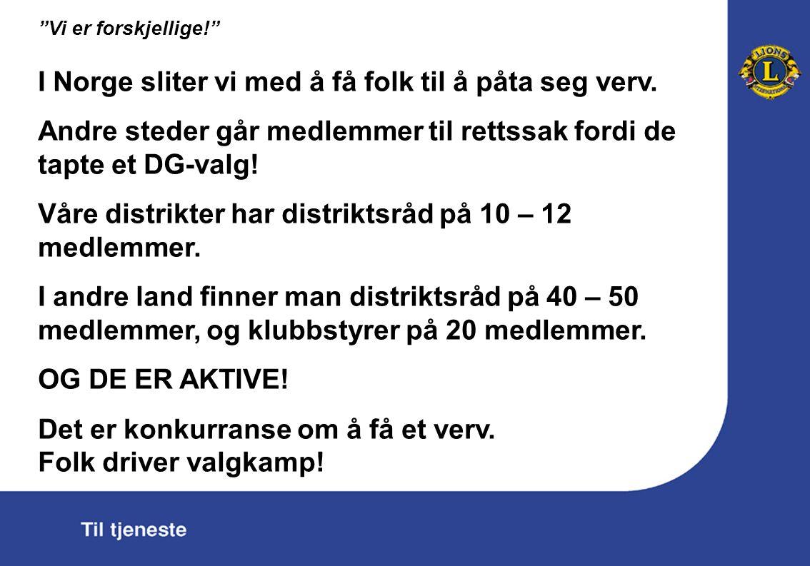Vi er forskjellige! I Norge sliter vi med å få folk til å påta seg verv.
