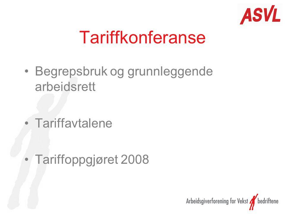 Tariffkonferanse Begrepsbruk og grunnleggende arbeidsrett Tariffavtalene Tariffoppgjøret 2008