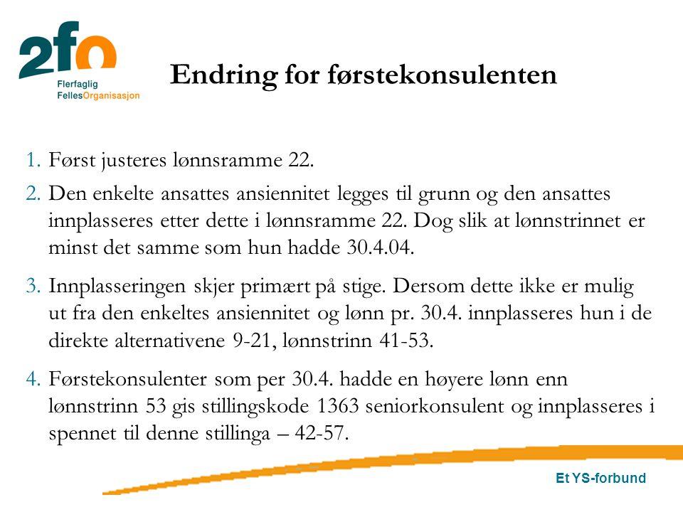 Et YS-forbund Endring for førstekonsulenten 1.Først justeres lønnsramme 22. 2.Den enkelte ansattes ansiennitet legges til grunn og den ansattes innpla