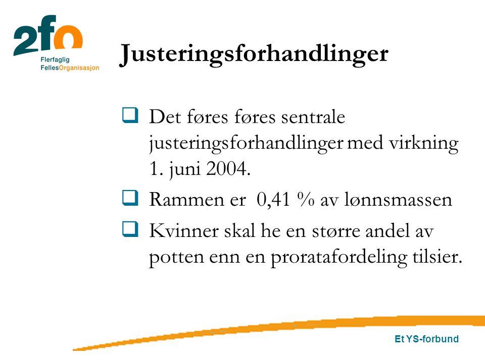 Et YS-forbund Justeringsforhandlinger  Det føres føres sentrale justeringsforhandlinger med virkning 1. juni 2004.  Rammen er 0,41 % av lønnsmassen