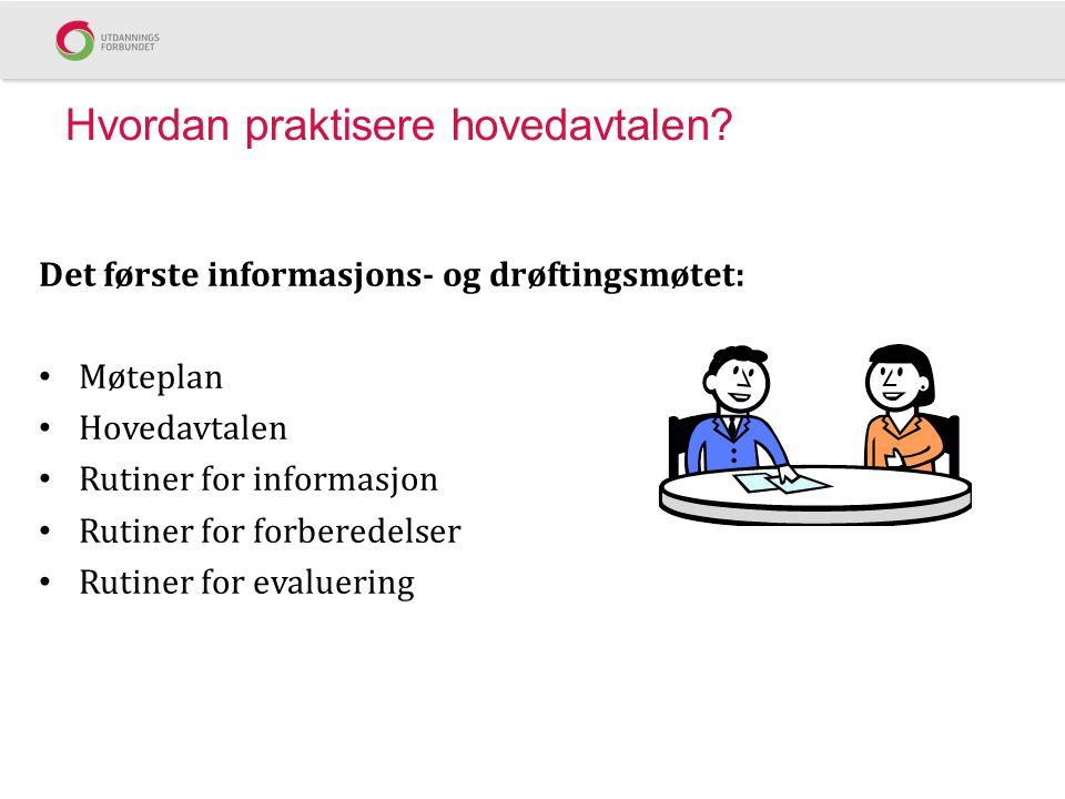 Hvordan praktisere hovedavtalen? Det første informasjons- og drøftingsmøtet: Møteplan Hovedavtalen Rutiner for informasjon Rutiner for forberedelser R