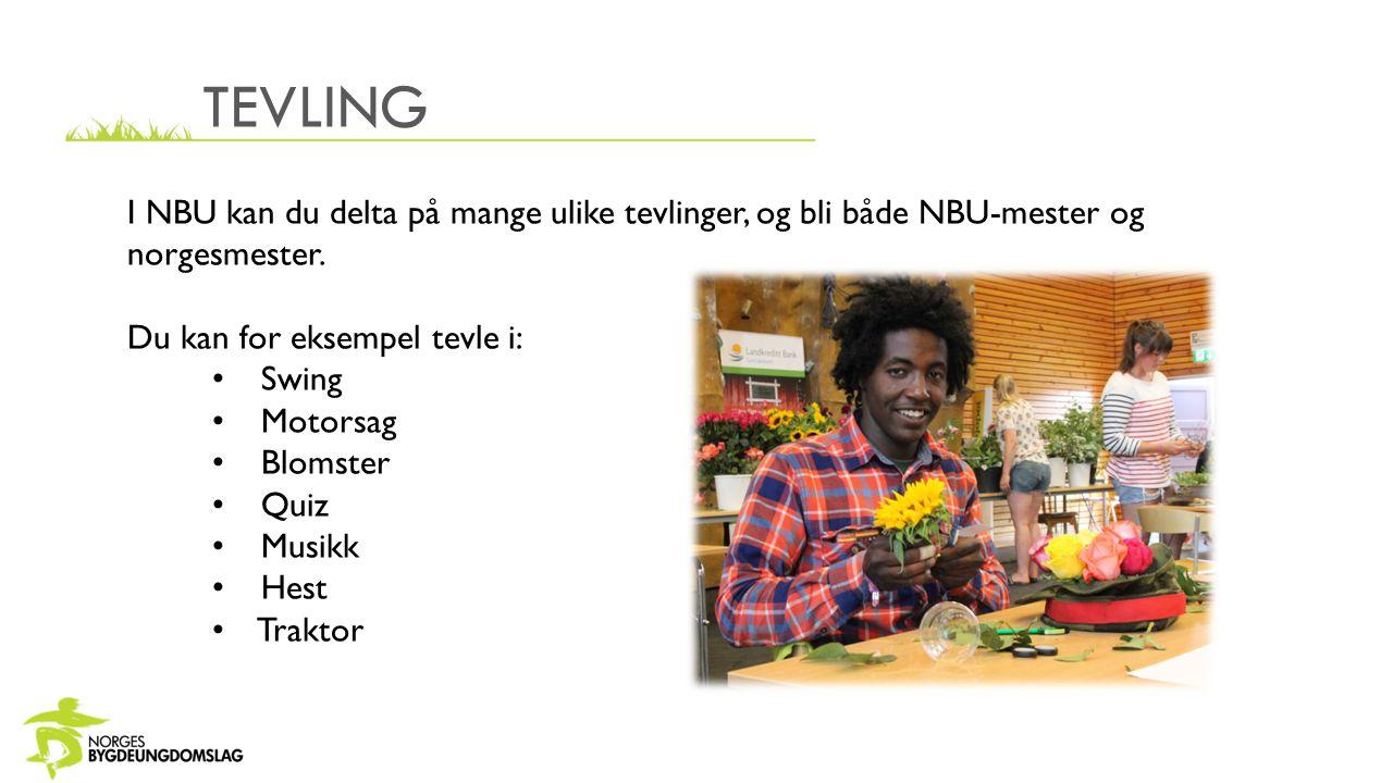 TEVLING I NBU kan du delta på mange ulike tevlinger, og bli både NBU-mester og norgesmester. Du kan for eksempel tevle i: Swing Motorsag Blomster Quiz