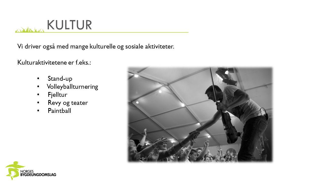 KULTUR Vi driver også med mange kulturelle og sosiale aktiviteter. Kulturaktivitetene er f.eks.: Stand-up Volleyballturnering Fjelltur Revy og teater