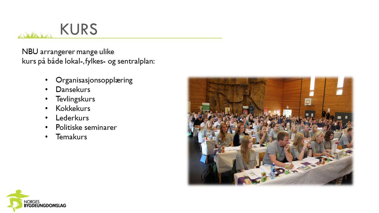KURS NBU arrangerer mange ulike kurs på både lokal-, fylkes- og sentralplan: Organisasjonsopplæring Dansekurs Tevlingskurs Kokkekurs Lederkurs Politiske seminarer Temakurs