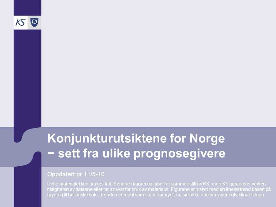 Konjunkturutsiktene for Norge − sett fra ulike prognosegivere Oppdatert pr 11/5-10 Dette materialet kan brukes fritt.
