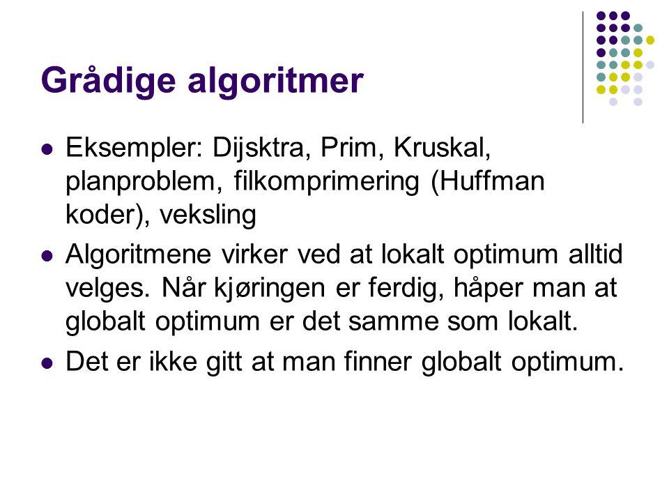 Grådige algoritmer Eksempler: Dijsktra, Prim, Kruskal, planproblem, filkomprimering (Huffman koder), veksling Algoritmene virker ved at lokalt optimum alltid velges.