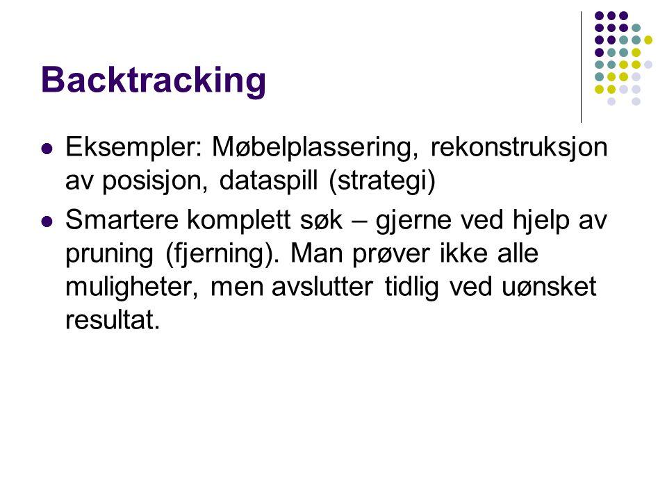 Backtracking Eksempler: Møbelplassering, rekonstruksjon av posisjon, dataspill (strategi) Smartere komplett søk – gjerne ved hjelp av pruning (fjerning).