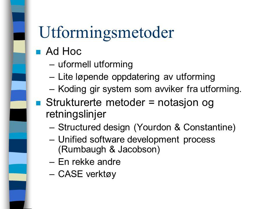 Utformingsmetoder n Ad Hoc –uformell utforming –Lite løpende oppdatering av utforming –Koding gir system som avviker fra utforming.