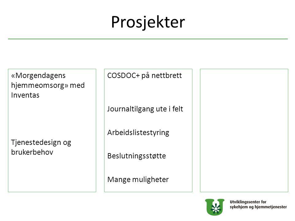 Prosjekter COSDOC+ på nettbrett Journaltilgang ute i felt Arbeidslistestyring Beslutningsstøtte Mange muligheter «Morgendagens hjemmeomsorg» med Inven