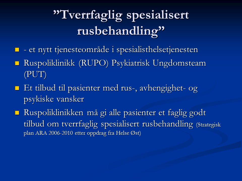 Tverrfaglig spesialisert rusbehandling - et nytt tjenesteområde i spesialisthelsetjenesten - et nytt tjenesteområde i spesialisthelsetjenesten Ruspoliklinikk (RUPO) Psykiatrisk Ungdomsteam (PUT) Ruspoliklinikk (RUPO) Psykiatrisk Ungdomsteam (PUT) Et tilbud til pasienter med rus-, avhengighet- og psykiske vansker Et tilbud til pasienter med rus-, avhengighet- og psykiske vansker Ruspoliklinikken må gi alle pasienter et faglig godt tilbud om tverrfaglig spesialisert rusbehandling (Strategisk plan ARA 2006-2010 etter oppdrag fra Helse Øst) Ruspoliklinikken må gi alle pasienter et faglig godt tilbud om tverrfaglig spesialisert rusbehandling (Strategisk plan ARA 2006-2010 etter oppdrag fra Helse Øst)