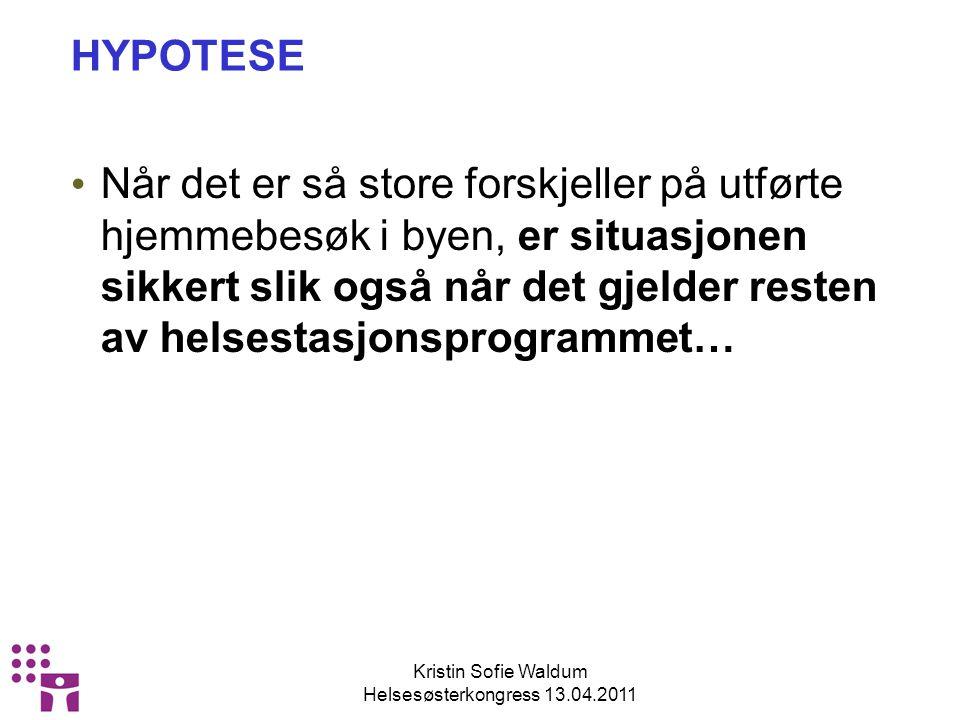 Kristin Sofie Waldum Helsesøsterkongress 13.04.2011 HYPOTESE Når det er så store forskjeller på utførte hjemmebesøk i byen, er situasjonen sikkert slik også når det gjelder resten av helsestasjonsprogrammet…