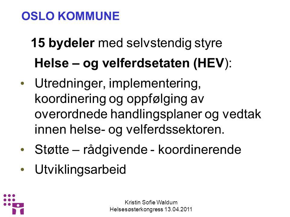 Kristin Sofie Waldum Helsesøsterkongress 13.04.2011 OSLO KOMMUNE 15 bydeler med selvstendig styre Helse – og velferdsetaten (HEV): Utredninger, implementering, koordinering og oppfølging av overordnede handlingsplaner og vedtak innen helse- og velferdssektoren.