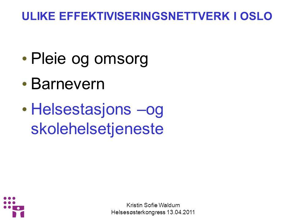 Kristin Sofie Waldum Helsesøsterkongress 13.04.2011 ORGANISERING AV NETTVERKENE Nettverk 1 5 bydeler Nettverk 2 5 bydeler Nettverk 3 5 bydeler HEV