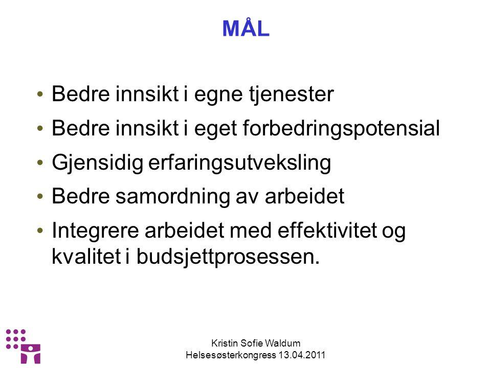 Kristin Sofie Waldum Helsesøsterkongress 13.04.2011 MED UTGANGSPUNKT I EFFEKTIVISERINGSNETTVERK FOR HELSESTASJONS – OG SKOLEHELSETJENESTEN LOKAL TILLEGGSVEILEDER FOR: ENHETLIG RAPPORTERING I KOSTRA OG WINMED I OSLO