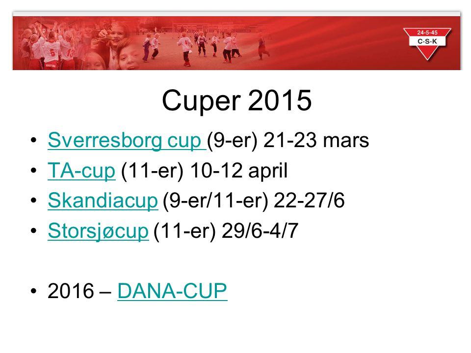 Cuper 2015 Sverresborg cup (9-er) 21-23 marsSverresborg cup TA-cup (11-er) 10-12 aprilTA-cup Skandiacup (9-er/11-er) 22-27/6Skandiacup Storsjøcup (11-
