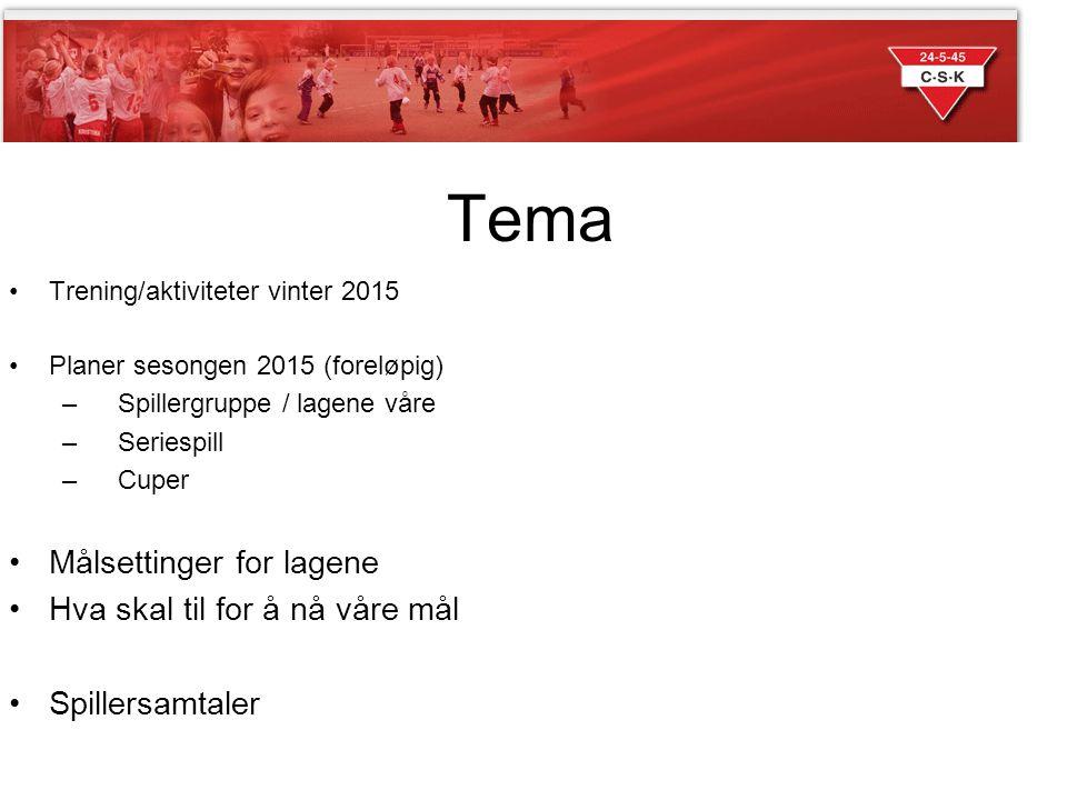 Tema Trening/aktiviteter vinter 2015 Planer sesongen 2015 (foreløpig) – Spillergruppe / lagene våre – Seriespill – Cuper Målsettinger for lagene Hva s