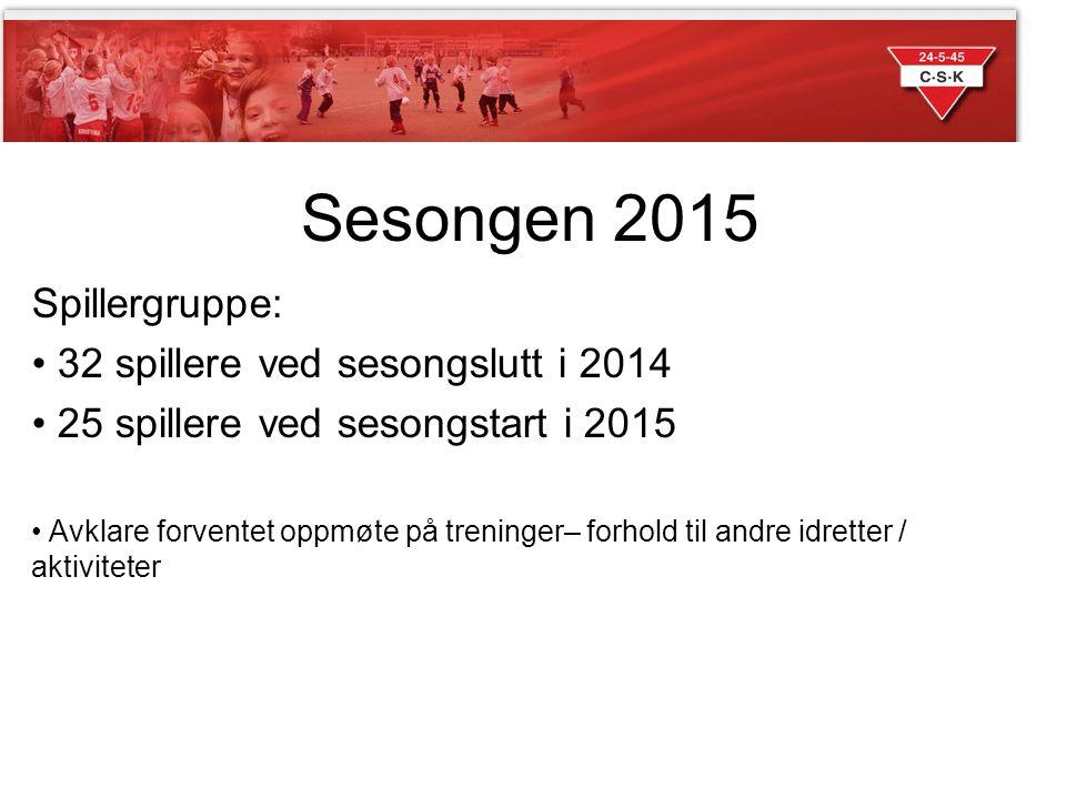 Sesongen 2015 Spillergruppe: 32 spillere ved sesongslutt i 2014 25 spillere ved sesongstart i 2015 Avklare forventet oppmøte på treninger– forhold til