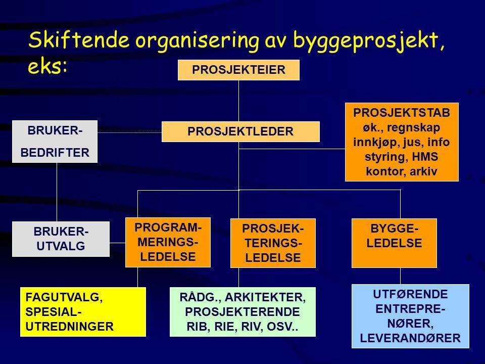 BRUKER- BEDRIFTER BRUKER- UTVALG PROGRAM- MERINGS- LEDELSE FAGUTVALG, SPESIAL- UTREDNINGER PROSJEKTLEDER PROSJEKTEIERPROSJEKTSTAB øk., regnskap innkjøp, jus, info styring, HMS kontor, arkiv PROSJEK- TERINGS- LEDELSE RÅDG., ARKITEKTER, PROSJEKTERENDE RIB, RIE, RIV, OSV..