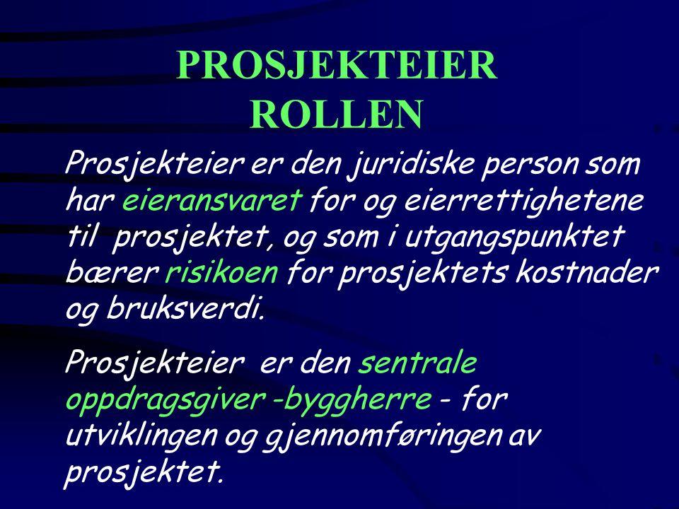 PROSJEKTEIER ROLLEN Prosjekteier er den juridiske person som har eieransvaret for og eierrettighetene til prosjektet, og som i utgangspunktet bærer risikoen for prosjektets kostnader og bruksverdi.