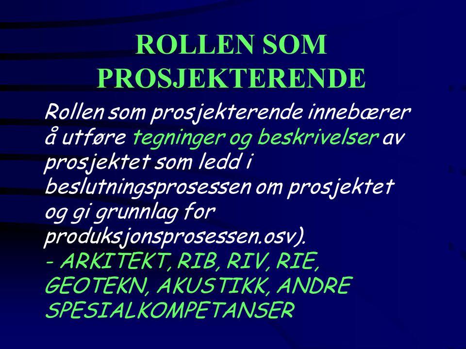 ROLLEN SOM PROSJEKTERENDE Rollen som prosjekterende innebærer å utføre tegninger og beskrivelser av prosjektet som ledd i beslutningsprosessen om prosjektet og gi grunnlag for produksjonsprosessen.osv).