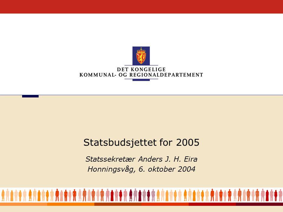 1 Statssekretær Anders J. H. Eira Honningsvåg, 6. oktober 2004 Statsbudsjettet for 2005
