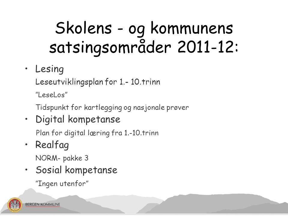 """Skolens - og kommunens satsingsområder 2011-12: Lesing Leseutviklingsplan for 1.- 10.trinn """"LeseLos"""" Tidspunkt for kartlegging og nasjonale prøver Dig"""