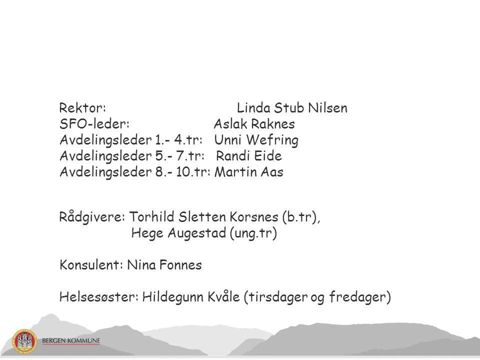 Rektor: Linda Stub Nilsen SFO-leder: Aslak Raknes Avdelingsleder 1.- 4.tr: Unni Wefring Avdelingsleder 5.- 7.tr: Randi Eide Avdelingsleder 8.- 10.tr: