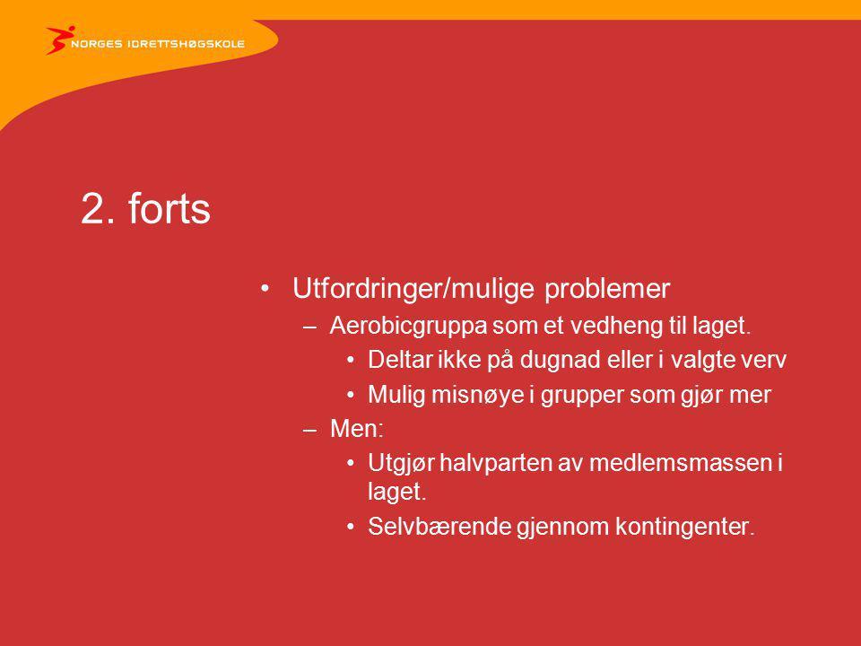 2. forts Utfordringer/mulige problemer –Aerobicgruppa som et vedheng til laget. Deltar ikke på dugnad eller i valgte verv Mulig misnøye i grupper som
