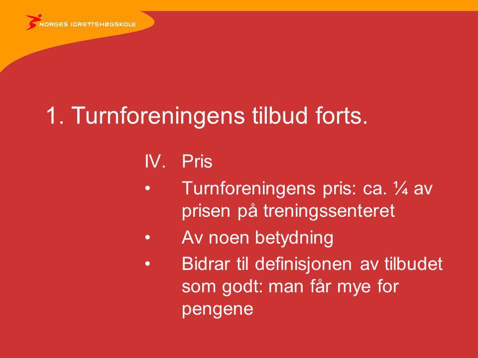 1. Turnforeningens tilbud forts. IV.Pris Turnforeningens pris: ca.