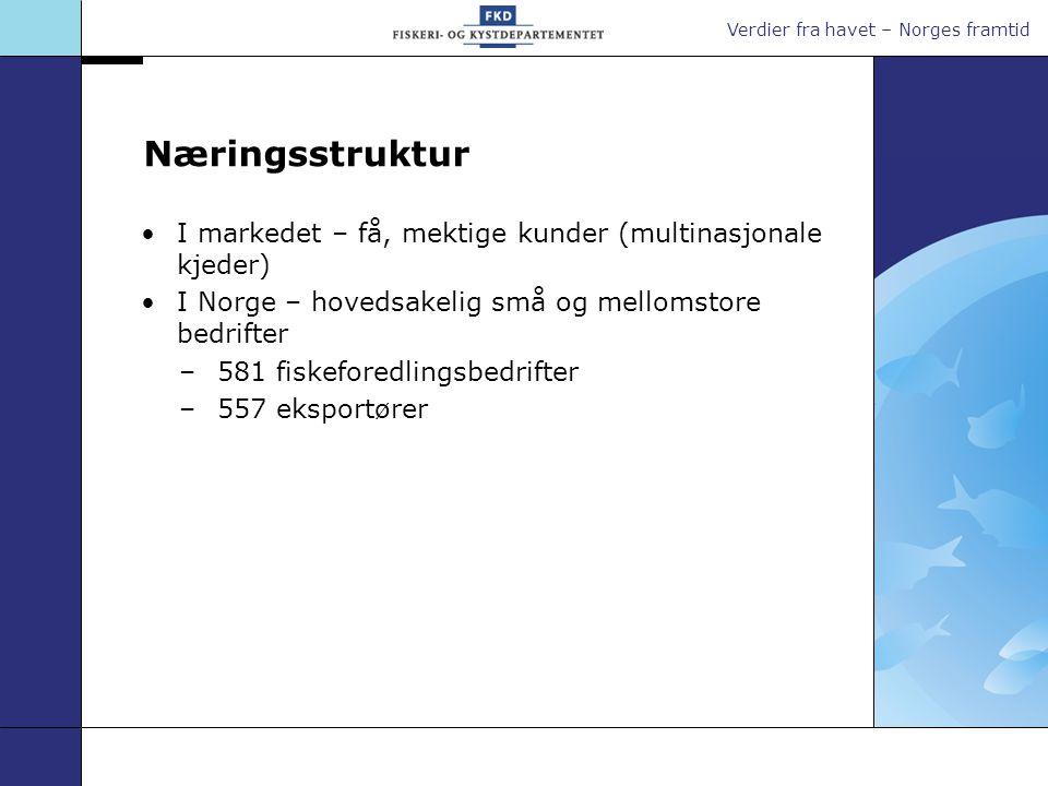 Verdier fra havet – Norges framtid Næringsstruktur I markedet – få, mektige kunder (multinasjonale kjeder) I Norge – hovedsakelig små og mellomstore b