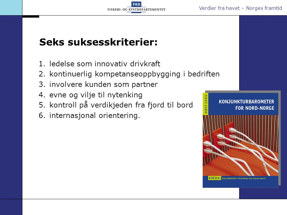 Verdier fra havet – Norges framtid Seks suksesskriterier: 1.ledelse som innovativ drivkraft 2.kontinuerlig kompetanseoppbygging i bedriften 3.involver
