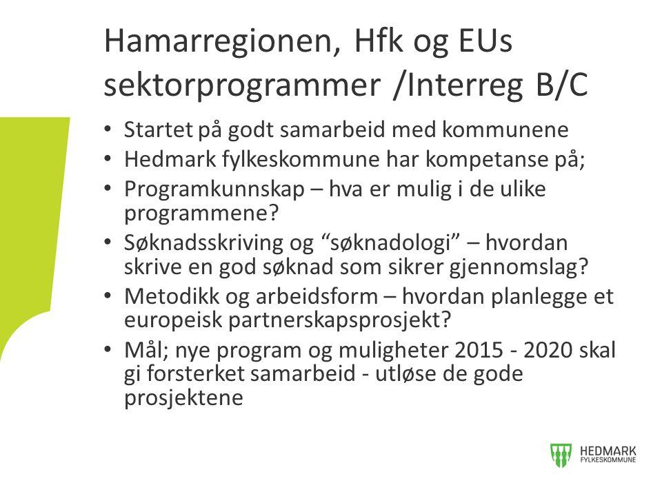 Startet på godt samarbeid med kommunene Hedmark fylkeskommune har kompetanse på; Programkunnskap – hva er mulig i de ulike programmene? Søknadsskrivin