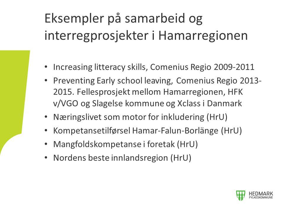 Increasing litteracy skills, Comenius Regio 2009-2011 Preventing Early school leaving, Comenius Regio 2013- 2015. Fellesprosjekt mellom Hamarregionen,