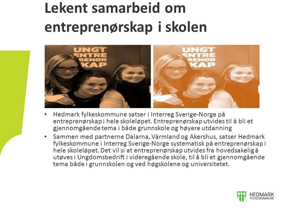 Hedmark fylkeskommune satser i Interreg Sverige-Norge på entreprenørskap i hele skoleløpet. Entreprenørskap utvides til å bli et gjennomgående tema i