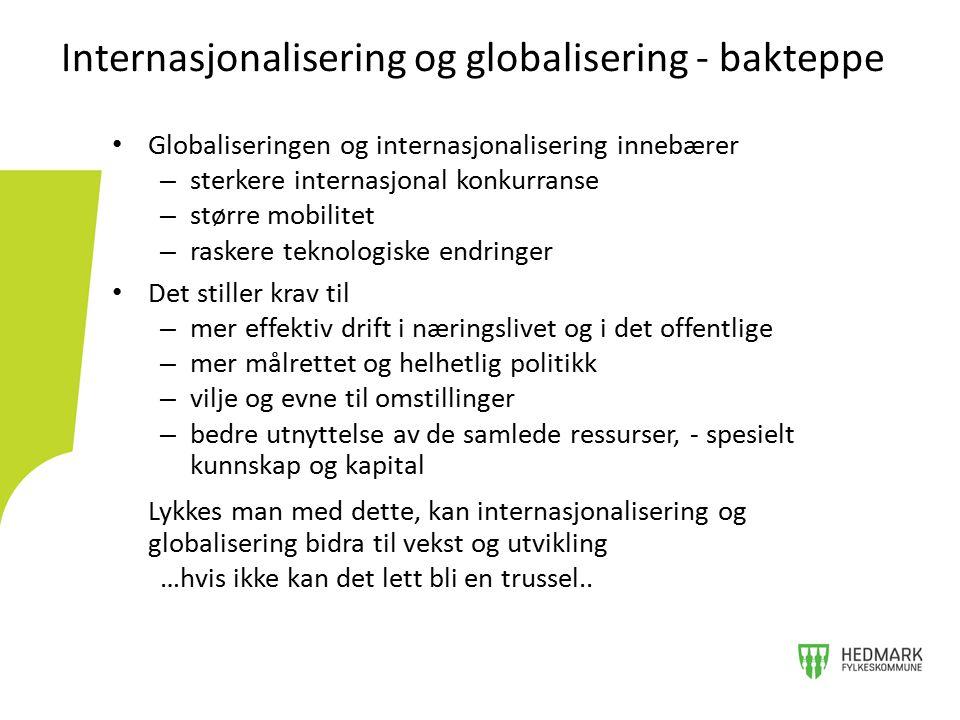 Internasjonalisering og globalisering - bakteppe Globaliseringen og internasjonalisering innebærer – sterkere internasjonal konkurranse – større mobil