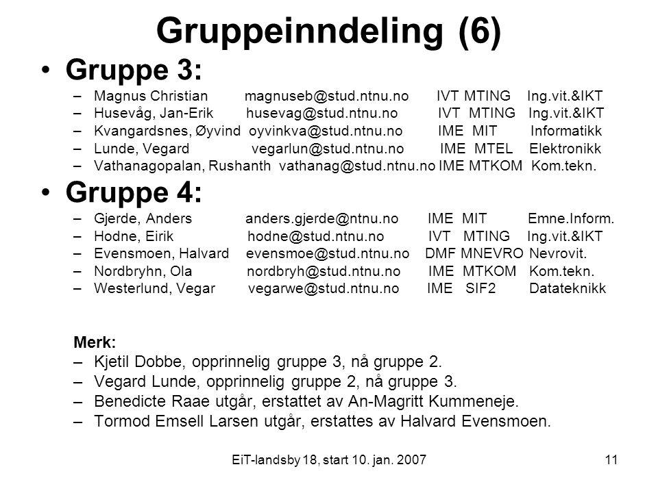 EiT-landsby 18, start 10. jan. 200711 Gruppeinndeling (6) Gruppe 3: –Magnus Christian magnuseb@stud.ntnu.no IVT MTING Ing.vit.&IKT –Husevåg, Jan-Erik