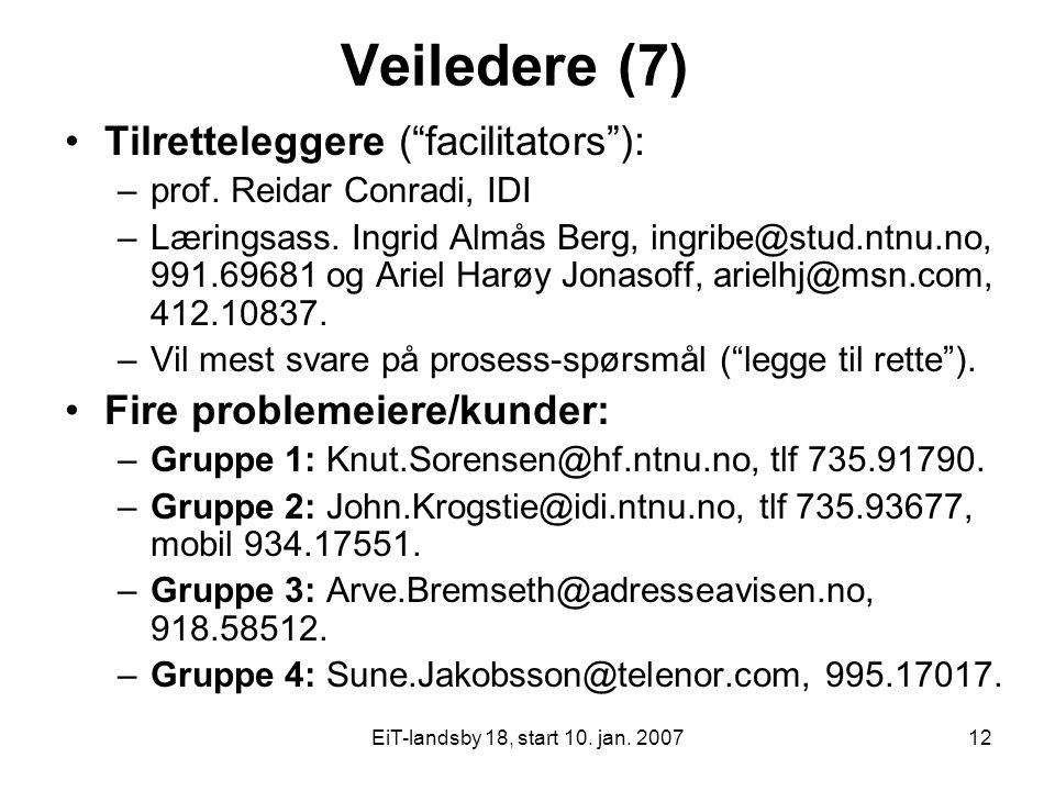 "EiT-landsby 18, start 10. jan. 200712 Veiledere (7) Tilretteleggere (""facilitators""): –prof. Reidar Conradi, IDI –Læringsass. Ingrid Almås Berg, ingri"