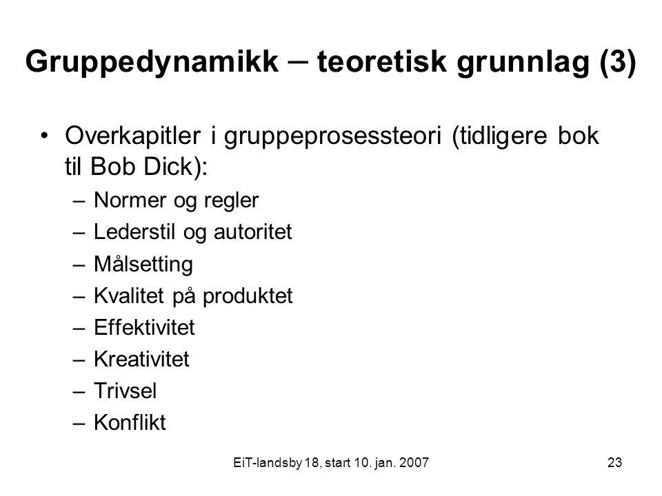 EiT-landsby 18, start 10. jan. 200723 Gruppedynamikk – teoretisk grunnlag (3) Overkapitler i gruppeprosessteori (tidligere bok til Bob Dick): –Normer