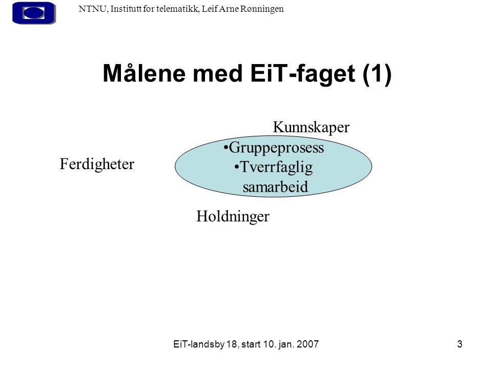 EiT-landsby 18, start 10. jan. 20073 Målene med EiT-faget (1) NTNU, Institutt for telematikk, Leif Arne Rønningen Gruppeprosess Tverrfaglig samarbeid