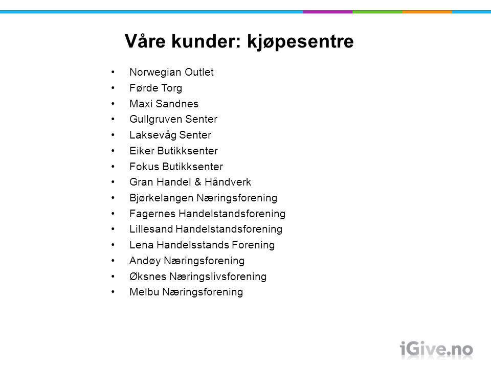 Våre kunder: kjøpesentre OBOS Tveita Norwegian Outlet Førde Torg Maxi Sandnes Gullgruven Senter Laksevåg Senter Eiker Butikksenter Fokus Butikksenter