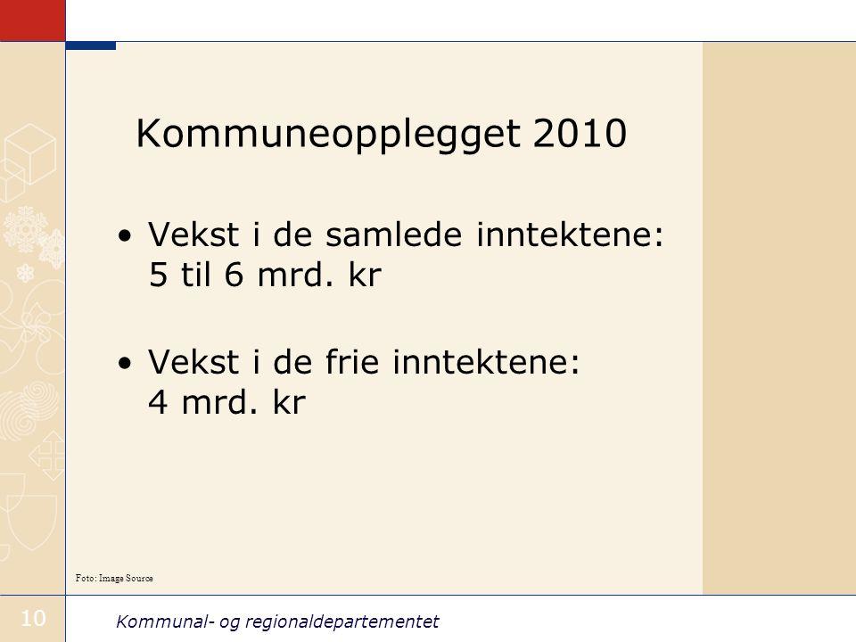 Kommunal- og regionaldepartementet 10 Kommuneopplegget 2010 Vekst i de samlede inntektene: 5 til 6 mrd.