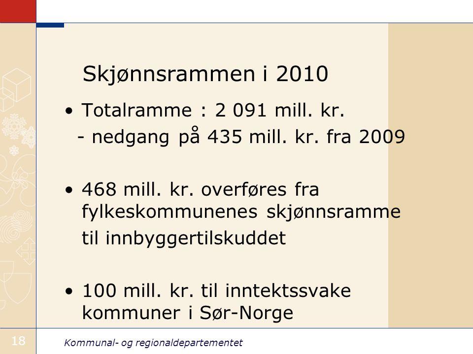 Kommunal- og regionaldepartementet 18 Skjønnsrammen i 2010 Totalramme : 2 091 mill.