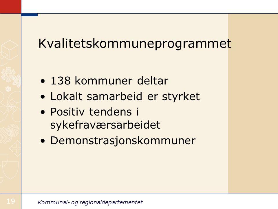 Kommunal- og regionaldepartementet 19 Kvalitetskommuneprogrammet 138 kommuner deltar Lokalt samarbeid er styrket Positiv tendens i sykefraværsarbeidet Demonstrasjonskommuner