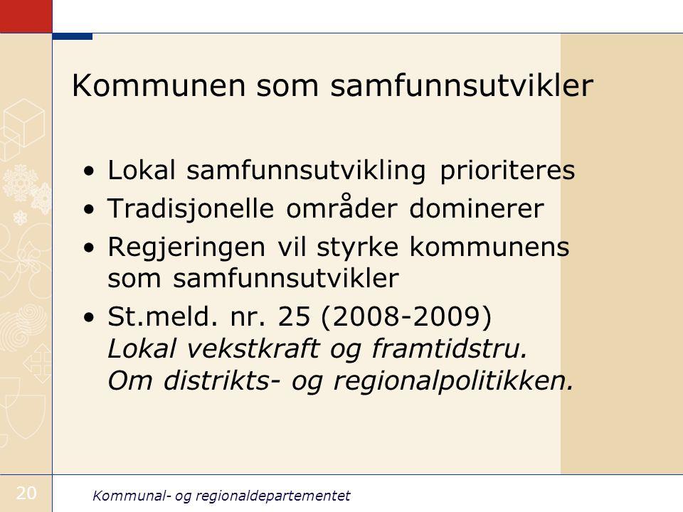 Kommunal- og regionaldepartementet 20 Kommunen som samfunnsutvikler Lokal samfunnsutvikling prioriteres Tradisjonelle områder dominerer Regjeringen vil styrke kommunens som samfunnsutvikler St.meld.