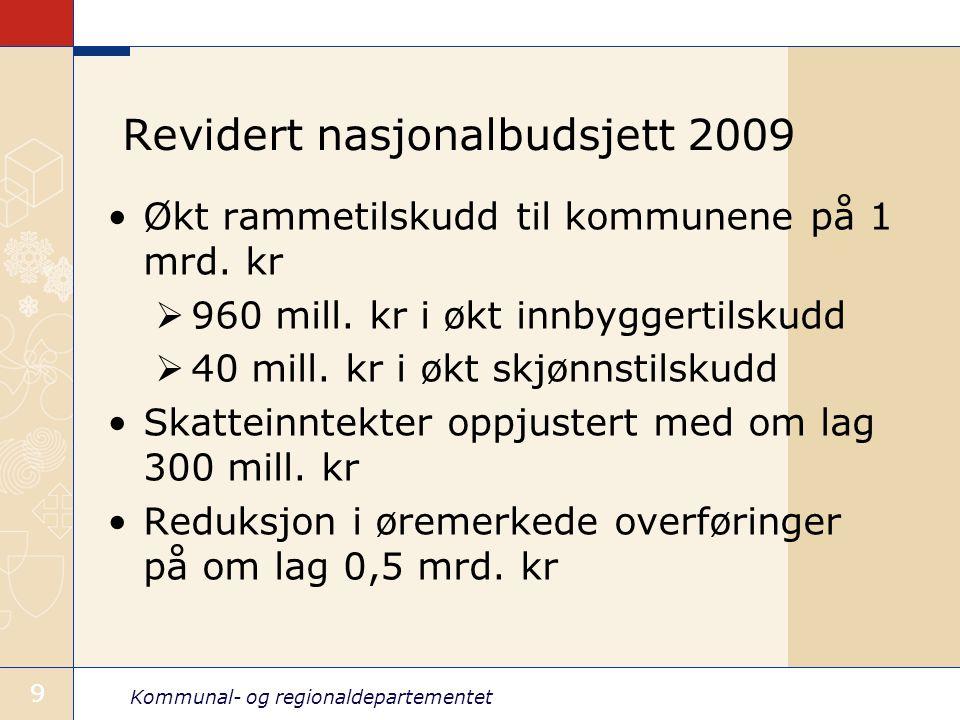 Kommunal- og regionaldepartementet 99 Revidert nasjonalbudsjett 2009 Økt rammetilskudd til kommunene på 1 mrd.