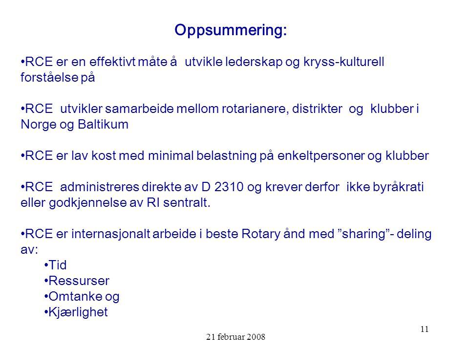 21 februar 2008 11 Oppsummering: RCE er en effektivt måte å utvikle lederskap og kryss-kulturell forståelse på RCE utvikler samarbeide mellom rotarianere, distrikter og klubber i Norge og Baltikum RCE er lav kost med minimal belastning på enkeltpersoner og klubber RCE administreres direkte av D 2310 og krever derfor ikke byråkrati eller godkjennelse av RI sentralt.