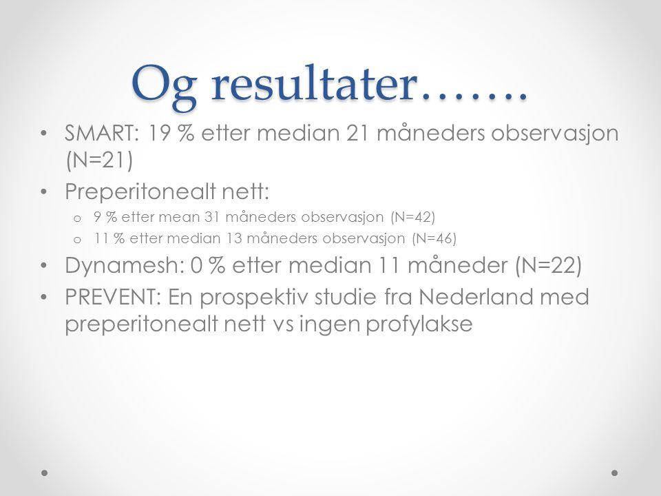 Og resultater……. SMART: 19 % etter median 21 måneders observasjon (N=21) Preperitonealt nett: o 9 % etter mean 31 måneders observasjon (N=42) o 11 % e